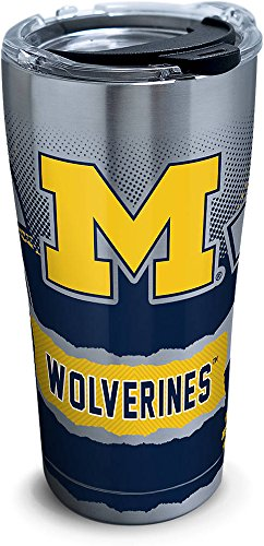 Tervis 1266056 Michigan Wolverines Knockout Stainless Steel Tumbler with Clear and Black Hammer Lid 20oz, Silver