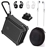 7 in 1 Black Rubber Airpods Case Accessories Kits Protective Silicone Cover and Skin for Apple Airpods Charging Case with Airpods Ear Hook/Airpods Straps/Carabiner / Clip Holder/Airpods case Box