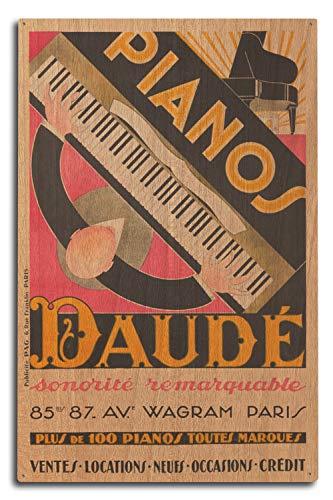 Lantern Press France - Pianos Daude - Sonorite Remarquable - (Artist: Daude c. 1926) - Vintage Advertisement (10x15 Wood Wall Sign, Wall Decor Ready to Hang)