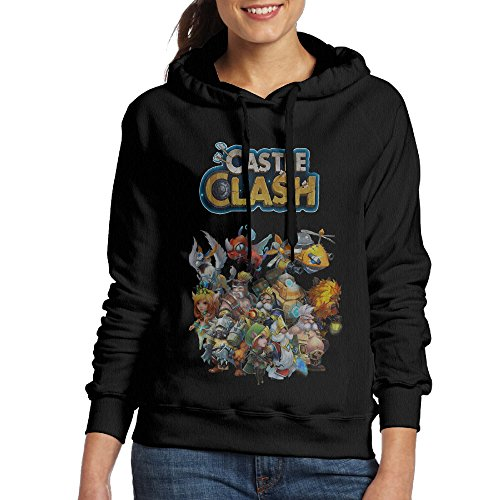 FUOCGH Women's Pullover Castle Clash Game Hoodie Sweatshirts Black S