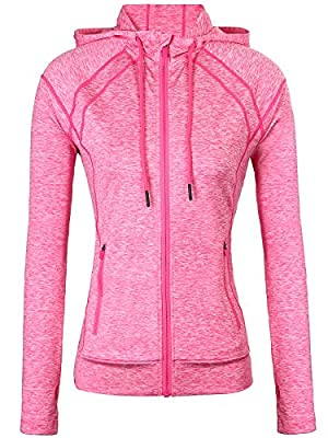 Fastorm Hooded Workout Yoga Jacket with Thumb Holes for Women Full Zip Active Performance