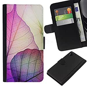 All Phone Most Case / Oferta Especial Cáscara Funda de cuero Monedero Cubierta de proteccion Caso / Wallet Case for Sony Xperia Z2 D6502 // Autumn Fall Purple Nature