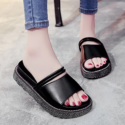 RUGAI-UE Sandalias de suela gruesa zapatillas estudiante ocio Zapatos zapatillas Slip Black