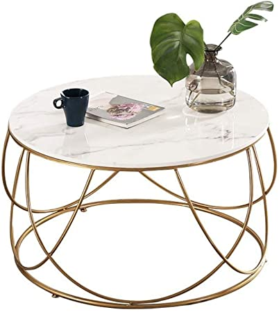Yxlong Coffee Tables White Marble Coffee Table Round Wrought Iron