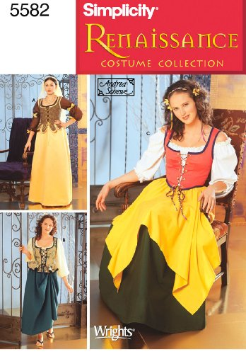 [Simplicity Sewing Pattern 5582 – Female Renaissance Costumes Size DD (4-6-8-10)] (Four Group Costumes)