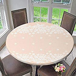"PINAFORE HOME Round Table Tablecloth Template for wedd Invitation or Greet Card with White lace Border for Wedding Restaurant Party 50""-55"" Round (Elastic Edge)"