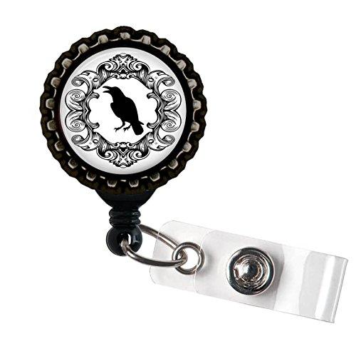 Filigree Crow Black Retractable ID Tag Badge Reel by Geek Badges