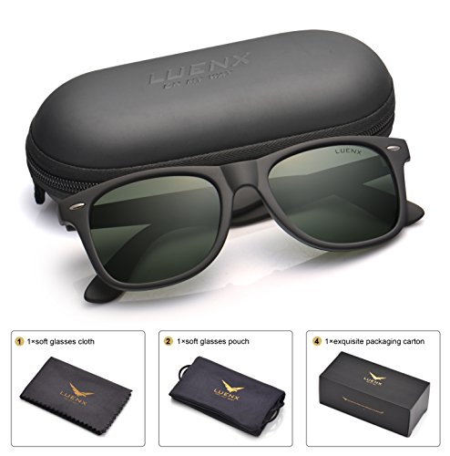 Mens Wayfarer Polarized Sunglasses for Womens UV 400 Protection Grey Green Lens Matte Black Frame - Good Sunglasses
