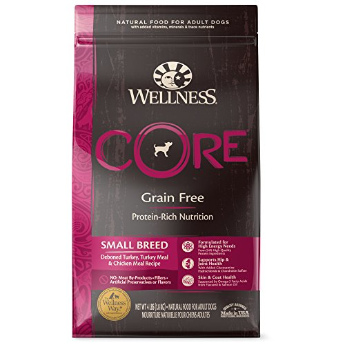 Wellness CORE Natural Grain Free Dry Dog Food, Small Breed, 4-Pound Bag (Best Dog Food For Small Dogs)