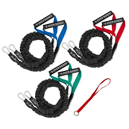 FIT CORDS - Three X-OVER Sport Covered Resistance Bands with PADDED HANDLES, NYLON SAFETY SLEEVE & PREMIUM LATEX EXERCISE TUBE ** LIGHT, MEDIUM and HEAVY with One DOOR ANCHOR **