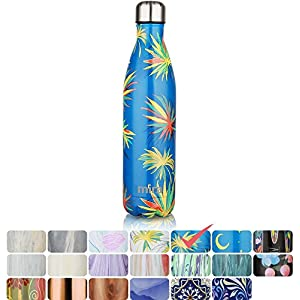 MIRA Vacuum Insulated Travel Water Bottle | Leak-proof Double Walled Stainless Steel Cola Shape Sports Water Bottle | No Sweating, Keeps Your Drink Hot & Cold | 25 Oz (750 ml) (Blue Palm)