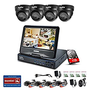"SANNCE 10.1"" LCD monitor 8CH Full 720P HD DVR Recorder & 1TB Hard Drive + 4x 1.0MP (1280720) CCTV Cameras, High Definition H.264 Real-time Surveillance System from SANNCE"