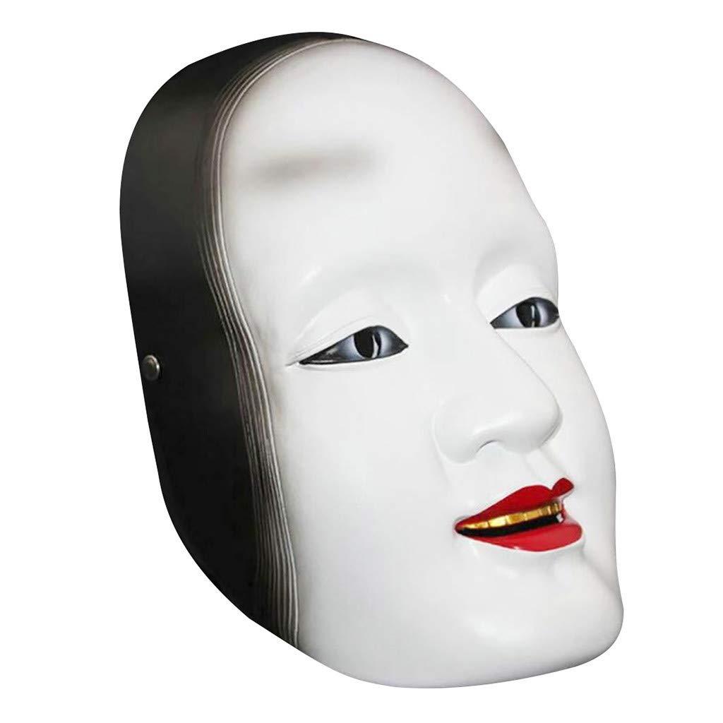 Resin Japanese Masquerade Mask, Gunel Deluxe Scary Halloween Prajna Cosplay Helmet Scary Horrible Mask (White) by Gunel home