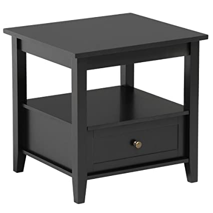 Amazon Com Topeakmart Black End Table With Bottom Drawer And Open