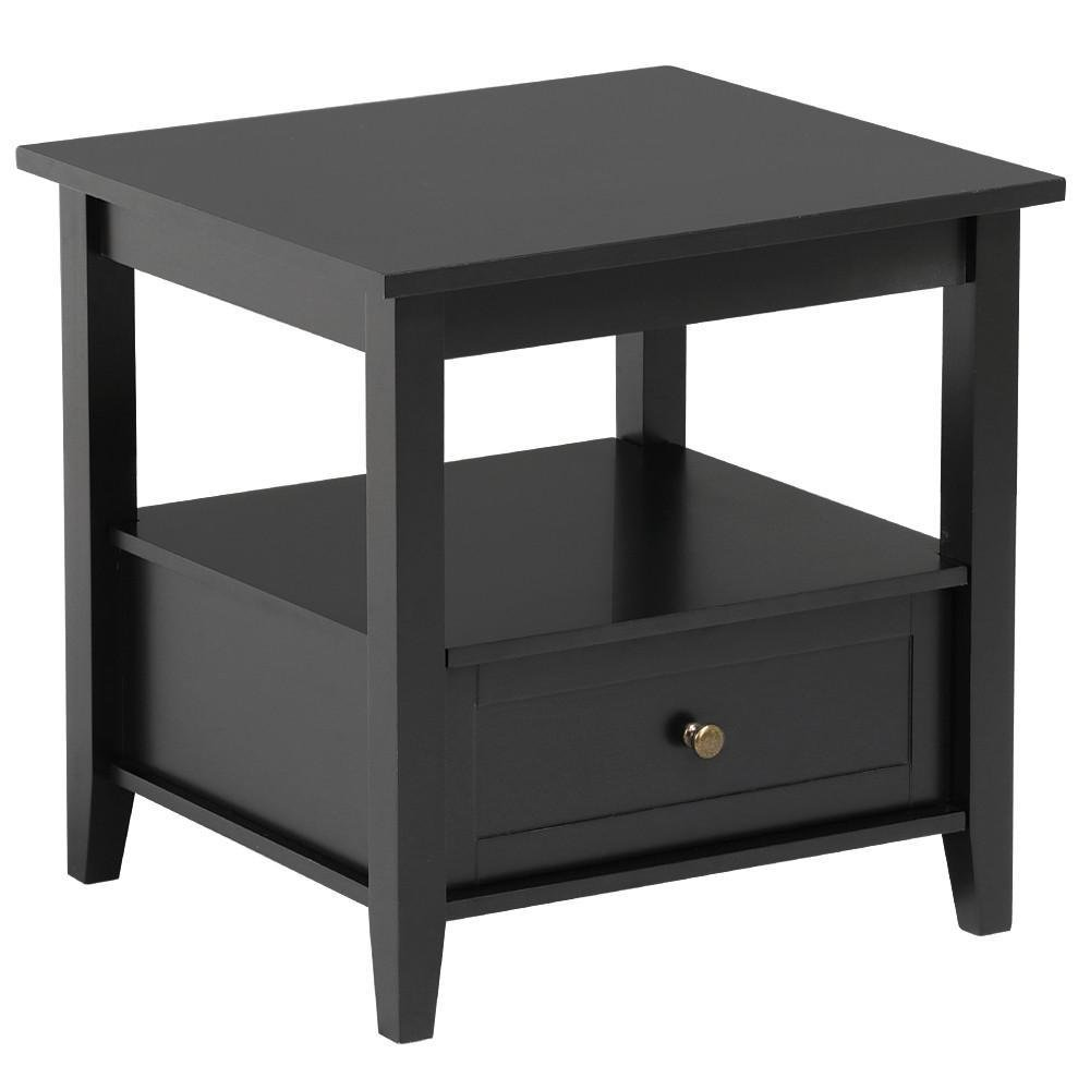Yaheetech Black Wood End Table/Night Stand with Drawer and Open Shelf for Storage Bed/Chair/Sofa Side Table by Yaheetech (Image #8)