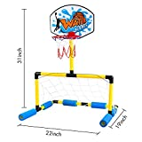 Geekper Multi-Sport Floating Reinforced Basketball and Soccer Goal Pool Set,with 2 Nets,2 Small Inflatable Balls and Pump - Blue