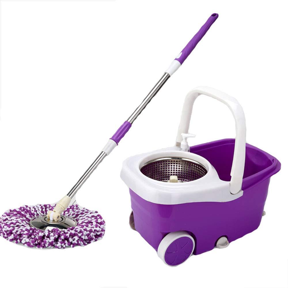 ZZHF モップステンレス鋼ダブルドライブロータリー自動脱水フリーハンドウォッシュ家庭用モップ ステンレス製モップ (色 : Purple, サイズ さいず : B) B07L4CHKNC Purple B