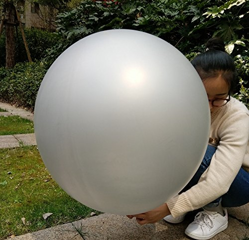 GuassLee 5 Giant Balloons 36 Inch Round Latex Big Balloon Large Thick Balloons for Photo Shoot/Birthday/Wedding Party/Festival/Event/Carnival Decorations Silver