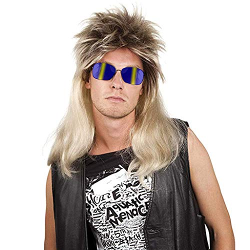 70s 80s Rocking Dube Wig Punk Rocker Disco Mullet Wig Mixed Blonde Cosplay (Gold)