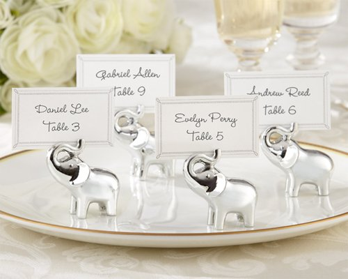Lucky in Love Silver-Finish Lucky Elephant Place Card Photo Holder Set of 4 [SET OF 12]