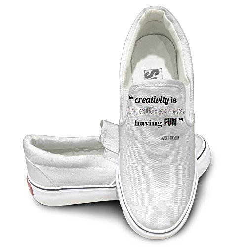 TAYC Alert Einstein Quotes 4 Comfortable Canvas Shoes White (2)