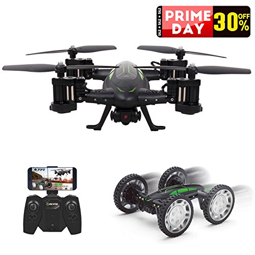 Rc Drone With 720P Hd Camera  Rolytoy Remote Control Car And Quadcopter Toy With 2 4Ghz Fpv 360 Flip 6 Axis Wifi Headless Mode For Kids And Adults With 2 Batteries
