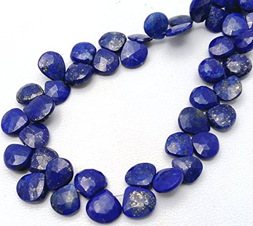 - 1 strand LAPIS LAZULI faceted heart shaped beads,very nice quality, size -- 7 mm to 8 mm,7.5