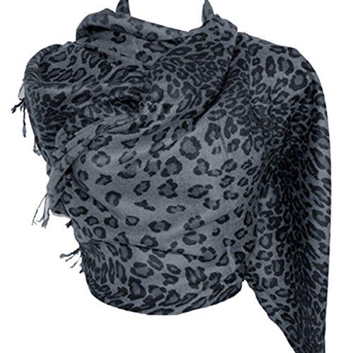 Silver Fever Pashmina-Leopard Animal Print Shawl- Stylish Soft Scarf Wrap(Charcoal Black)