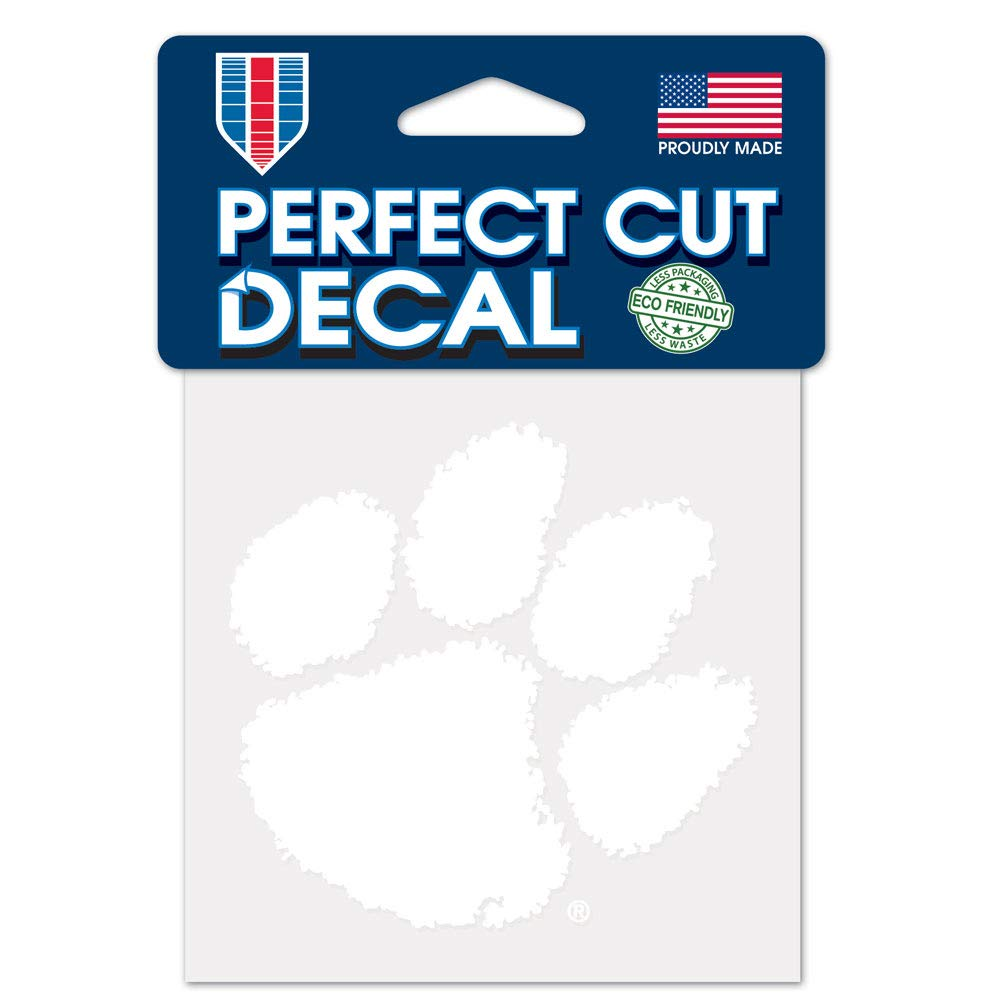 Team Color WinCraft NCAA Clemson Tigers 4x4 Perfect Cut White Decal One Size