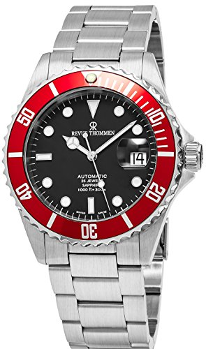Revue Thommen Diver 42 MM Mens Black Dial Stainless Steel Automatic Date Swiss Watch 17571.2136