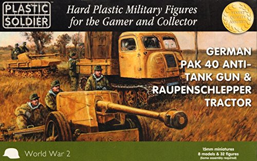 WWII Miniatures - Germany 15mm Pak 40 Anti-Tank Gun and Raupenschlepper Tractor
