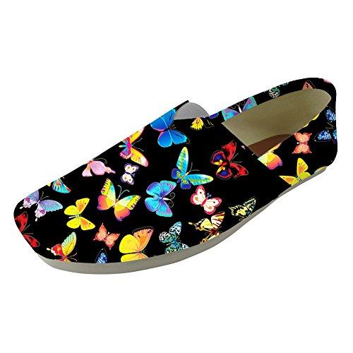 cómodas Zapatos Nopersonalidad Slip Casual Lona 10 1 Tamaño Bombas Mujeres Butterfly Mariposa UK3 Pisos Patrón on Bonita 8Ur8wAYnP