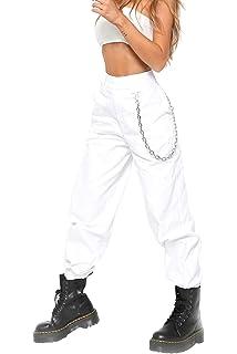 BienBien Pantalon Cargo Femme Style Hip-hop Sport Jogging Taille Haute  Jeans Pantalon à Imprimé b3860322f2e2