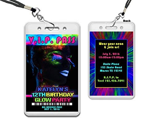 Amazon Com Glow Party Vip Pass Birthday Invitations Girl Rave Sweet
