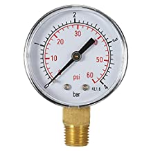 """KKmoon 50mm 0~60psi 0~4bar Pool Filter Water Pressure Dial Hydraulic Pressure Gauge Meter Manometer 1/4"""" BSPT Thread"""