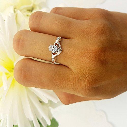 10K Rose Gold White Diamond And Aquamarine Bridal Promise Irish Love & Heart Shape Ring (Size 6) by DazzlingRock Collection (Image #5)