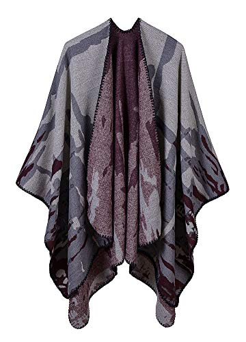 Romacci Women Shawl Wrap Open Front Poncho Cape Colorblock Camouflage Oversized Warm Knitted Cardigan