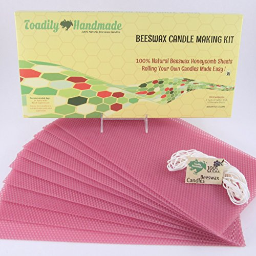 Make Your Own Beeswax Candle Kit - Includes 10 Full Size 100% Beeswax Honeycomb Sheets in ROSE and Approx. 6 Yards (18 Feet) of Cotton Wick. Each Beeswax Sheet Measures (Approx Rose)