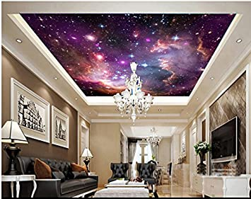 Fondos de Kuamai Custom Universo Colorful Dream Star para la sala de estar Dormitorio Pared de techo a prueba de agua Ktv Bar Vinilo Papel De ...