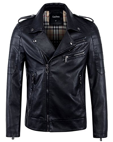 chouyatou Men's Vintage Asymmetric Zip Lightweight Faux Leather Biker Jacket (X-Large, Black) ()