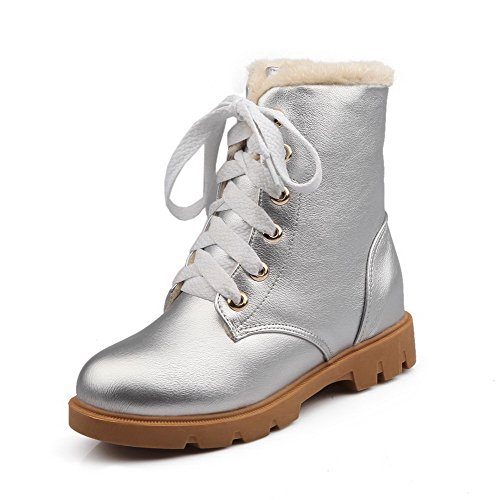 AgooLar Women's PU Lace-up PU Low-Heels Round Closed Toe Boots Silver wxrNMeFnc8