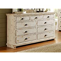 Progressive Furniture Willow Distressed Drawer Dresser, 66 x 20 x 44