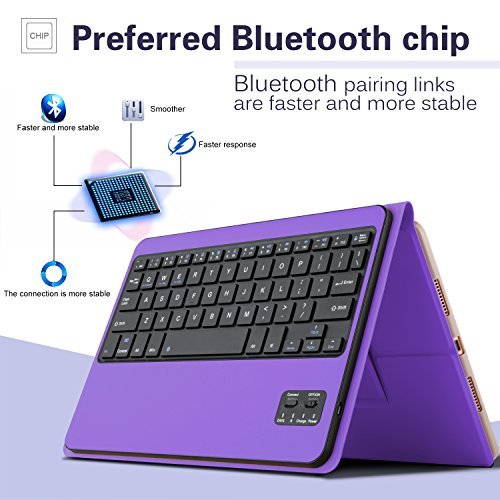 IVSO Apple iPad Pro 10.5 Keyboard Case, Ultra-Thin DETACHABLE Wireless Keyboard Stand Case/Cover + Pencil holder for Apple iPad Pro 10.5-inch 2017 Version Tablet (Purple) by IVSO (Image #5)