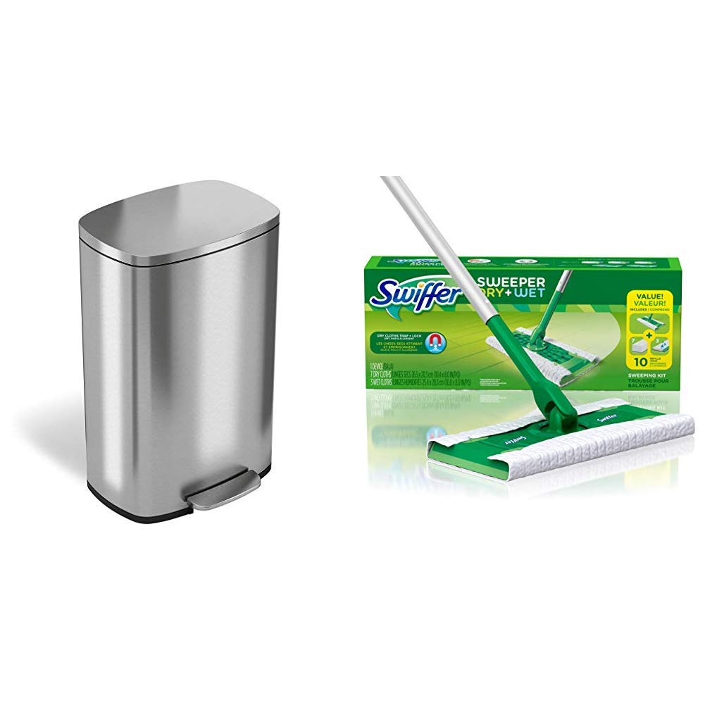 iTouchless SoftStep 13.2 Gallon Stainless Steel Step Trash Can, 50 Liter Pedal Garbage Bin  &Swiffer Sweeper Dry and Wet Floor Mopping and Cleaning Starter Kit, Includes: 1 Mop, 7 Dry Pads, 3 Wet Pads