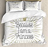 Queen Size Egg Shell Mattress YOLIKA I am a Princess Queen Size Duvet Cover Set, Because I am A Princess Calligraphy Hand Drawn Lettering Crown, Decorative 3 Piece Bedding Set with 2 Pillow Shams, Eggshell Black White