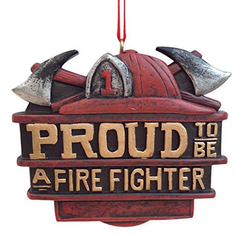 Proud to be a Fire Fighter 3 inch Resin Stone Christmas Ornament Decoration ()