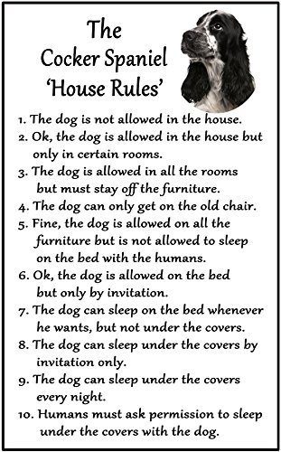 hiusan Cocker Spaniel Black And White/Roan Gift - House Rules Funny Fridge Stickers Warning Stickers Peel and Stick Kitchen Home Decor 6