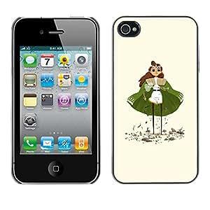 GOODTHINGS Funda Imagen Diseño Carcasa Tapa Trasera Negro Cover Skin Case para Apple Iphone 4 / 4S - princesa capa verde de la muchacha del arte estatuilla ojos