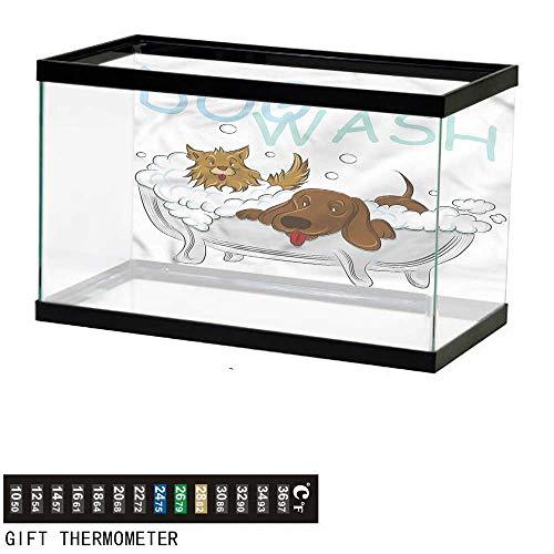 (Suchashome Fish Tank Backdrop Nursery,Playful Dogs in Bathtub,Aquarium Background,72