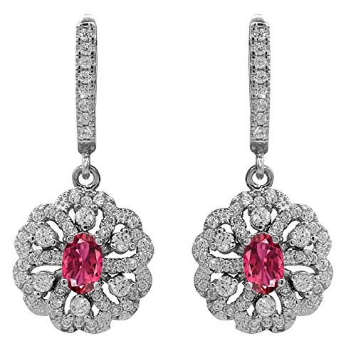 Dangling Tourmaline Earrings - Gem Stone King 2.20 Ct Oval Pink Tourmaline 925 Sterling Silver Dangling Earrings